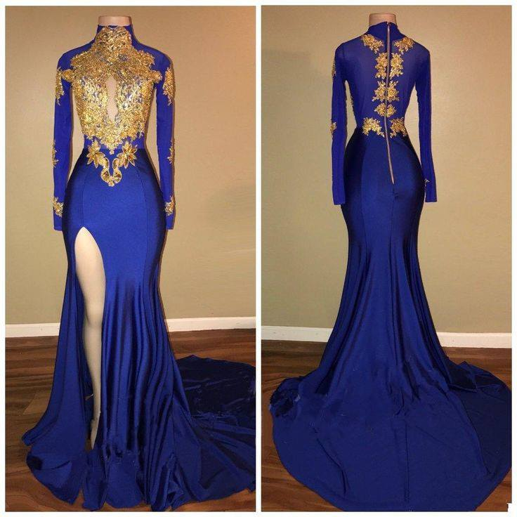 Blue Gold Prom Dresses 2019 | Long Sleeves Side Slit ...
