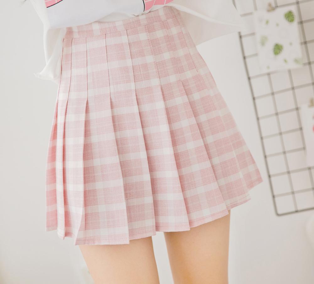 0f8860060 Pink Lattice High-waist Pleated Skirt Women Mini Skirt · HIMI'Store ...