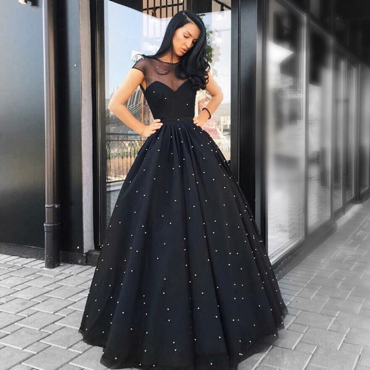 Black Dress with Tulle