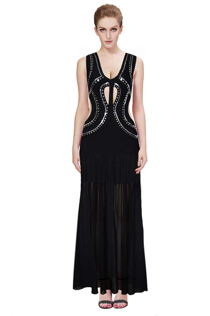 Herve Leger Cutout Beaded Black Bandage Gown on Storenvy