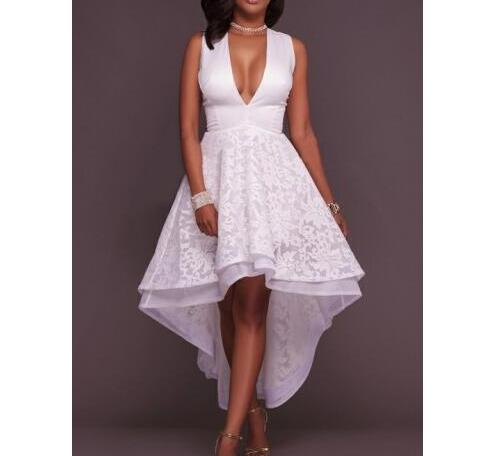 838d0c92cdc Sexy High Low Prom Dresses Deep V Neck Plus Size Formal Evening Gown  Appliqued White Party