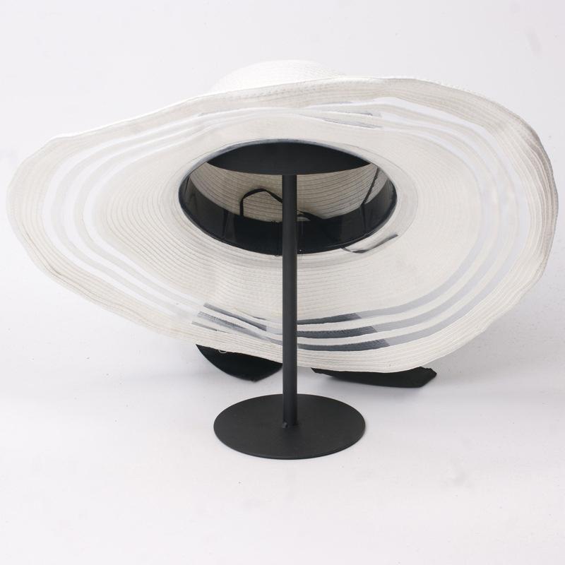 3d6565fa9 Womens Mesh Stitching Big Brim Beach Hat Straw Floppy Sunhade Hat with  Black Satin Bow from Mia & Fiona