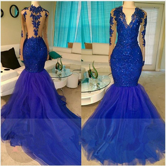 Royal Blue Prom Dress Mermaid Lace Prom Dress Tulle Evening Gowns Sleeveless Evening Dress From Mychicdress
