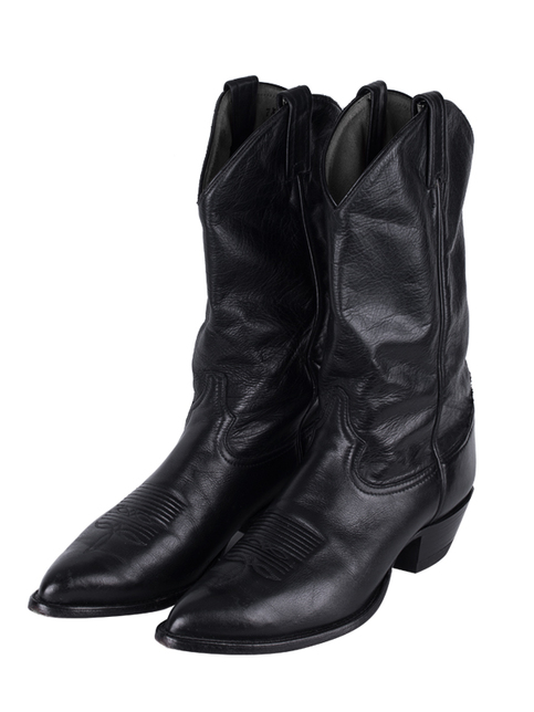 Handmade Mens Black Western Style Cowboy High Ankle Boots