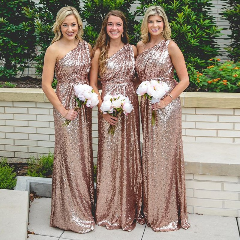 0d7a97416df One Shoulder Rose Gold Sequin Bridesmaid Dress Evening Gown on Storenvy