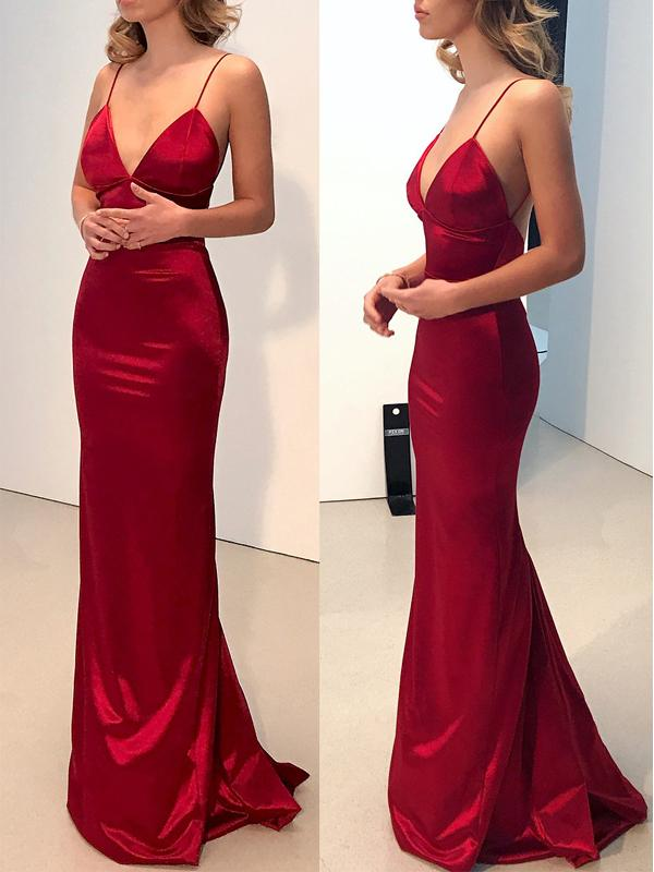 Simple Backless Dark Red Mermaid Long Evening Prom Dresses On Storenvy