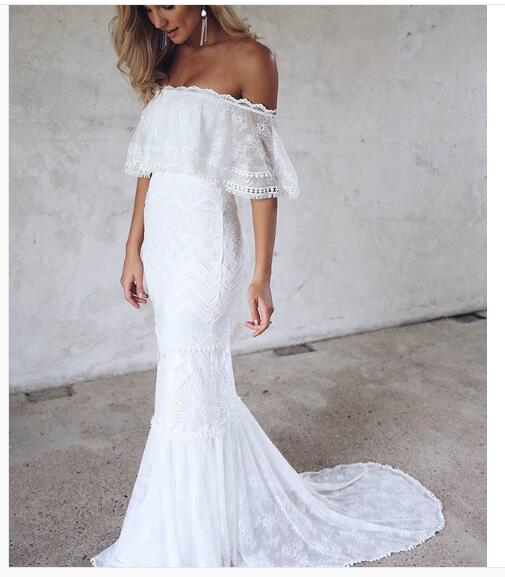 Lace Boho Wedding Dress Bohemian Lace Beach Wedding Dress Halter Backless Lace Wedding Dress Long Wedding Dresses Off Shoulder Bridal Dress From