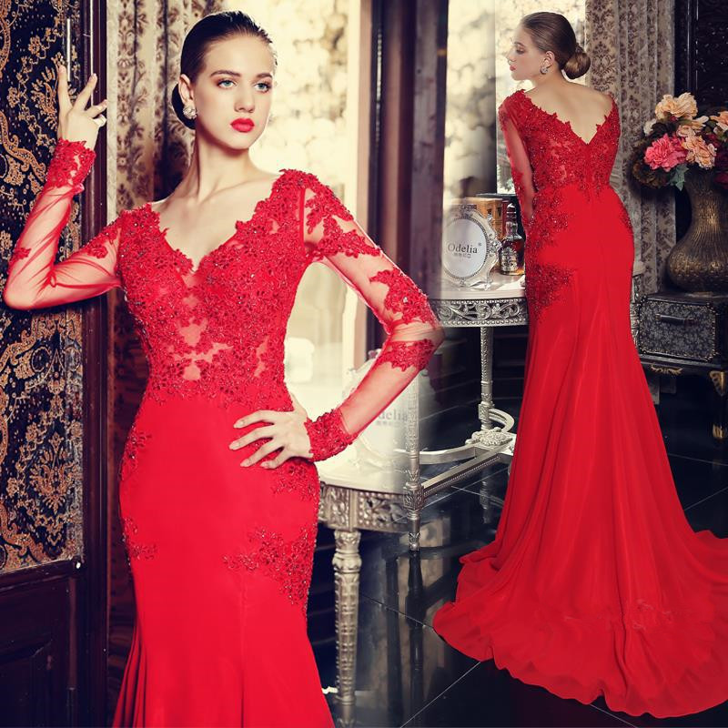440c9270ca36 V-Neck Red Long Sleeve Beading Evening Dress Popular Chiffon ...