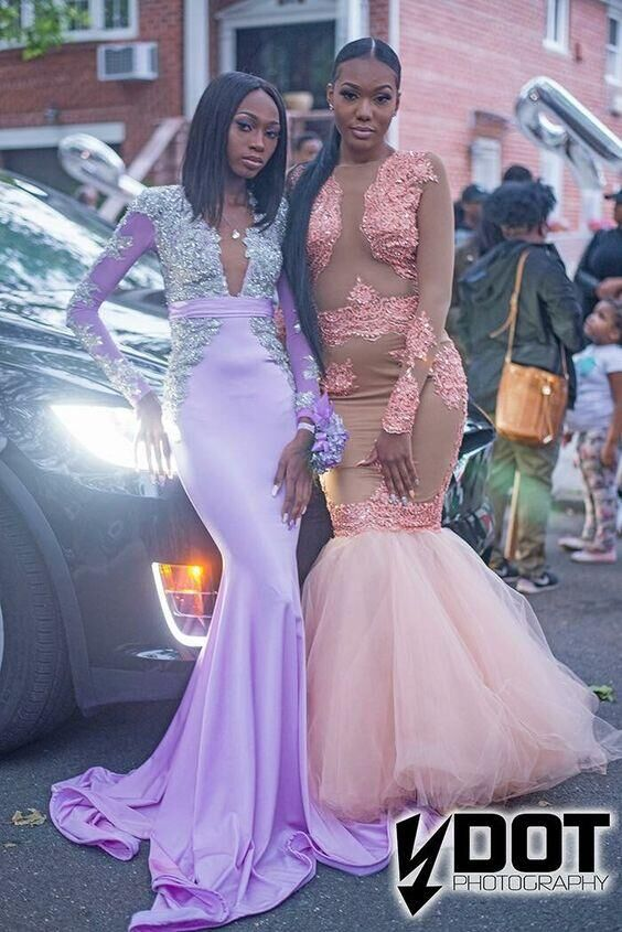 Pink Mermaid Black Girl African Girl Prom Dresses Crew Neck Lace