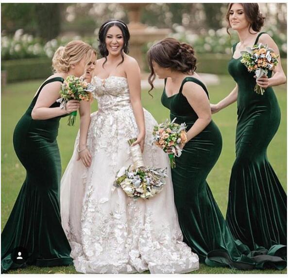 5394650148cd1 2018 Mermaid Bridesmaid Dress, Velvet Emerald Green Bridesmaid Dresses,  Long Bridesmaid Gown