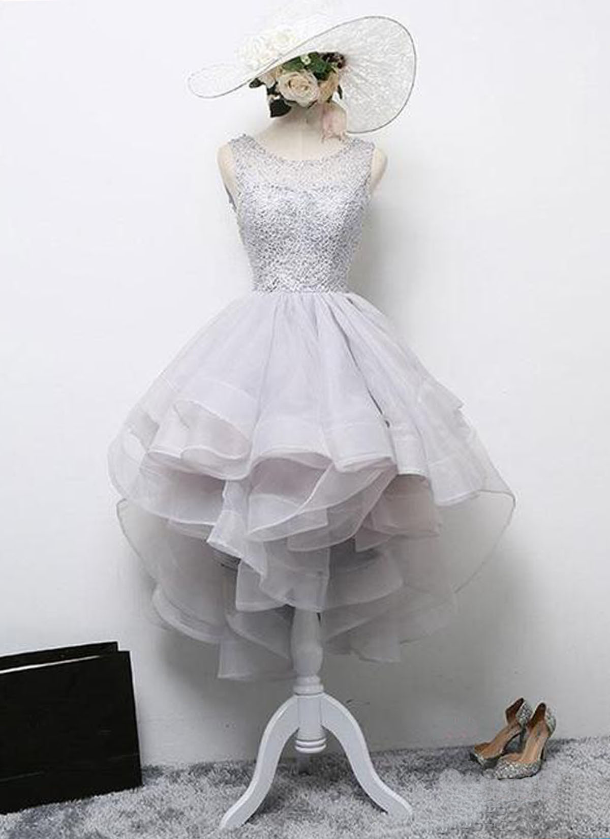 953076e8100 Gray short ruffles tulle scoop neck lace homecoming dress, short open back prom  dress