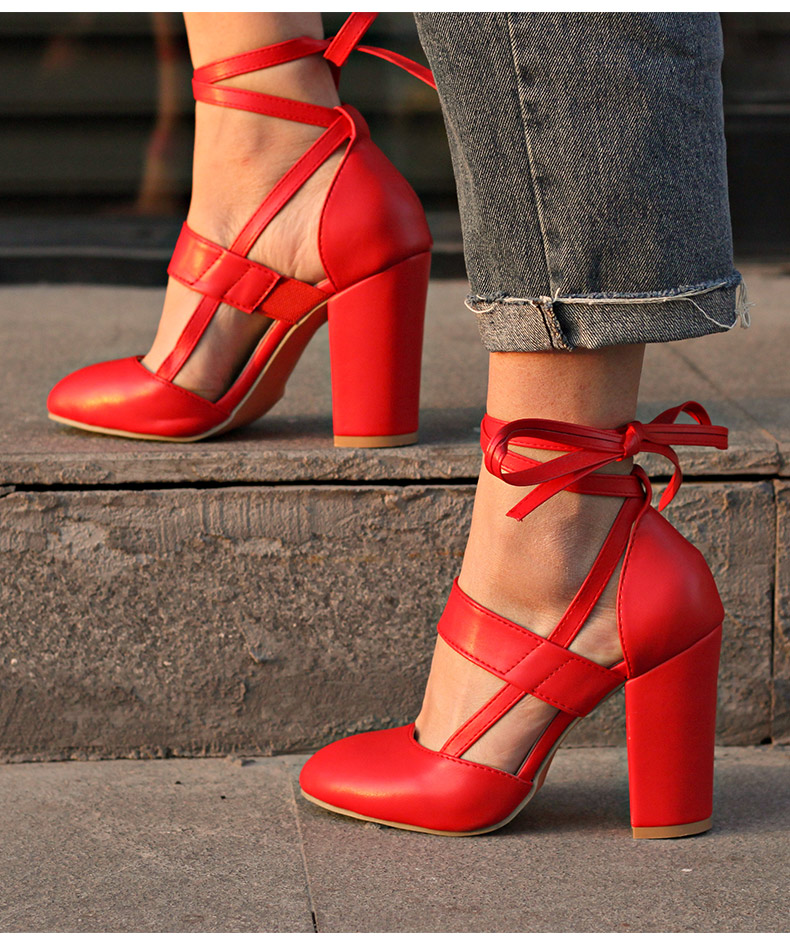 Sexy Red Lace up High Heels Fashion
