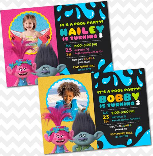 Trolls Birthday Party Invitations ANY AGE Custom Handmade Products