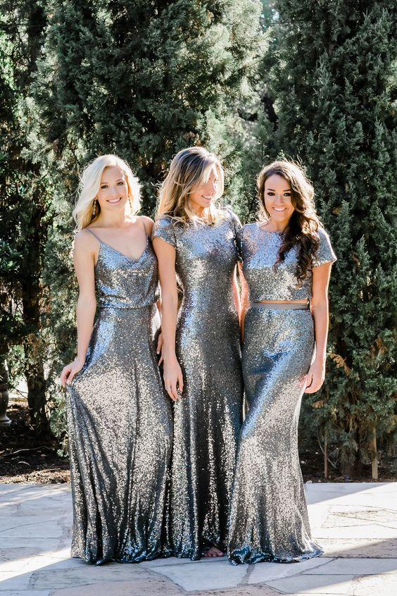 20275823e2 2018 Silver Bridesmaid Dress