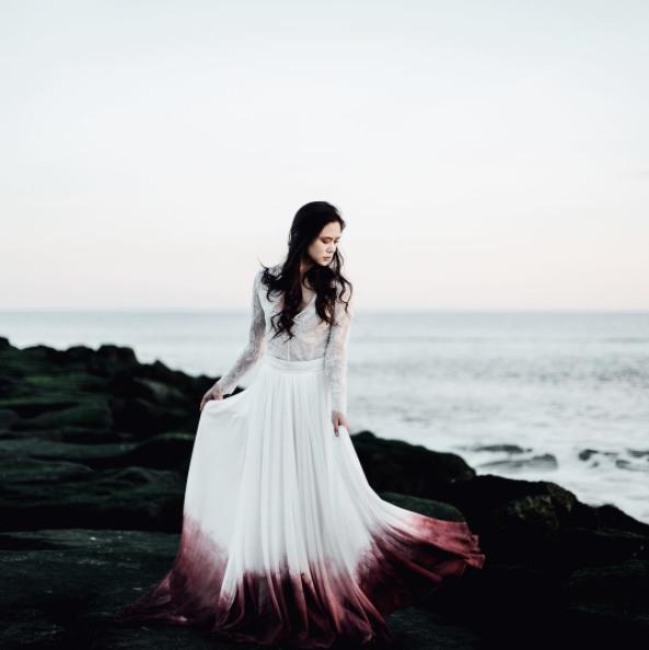 Beach Wedding Dresses Ombre A Line Chiffon Colorful