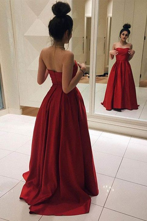 Red Long Prom Dresses Elegant Red Satin Prom Dress Ball Gown