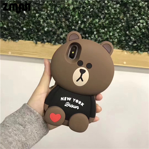 best website 4fabd ae035 3D Heart Bear Soft Cell Case for iPhone X 8 7 Silicone Phone Bag Shell for  iPhone 6 6s plus Back Case Cover from Super Cute