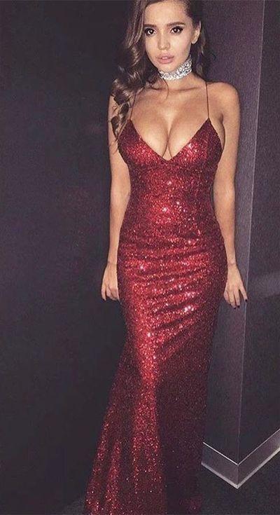 Prom Wine Sequin Dress