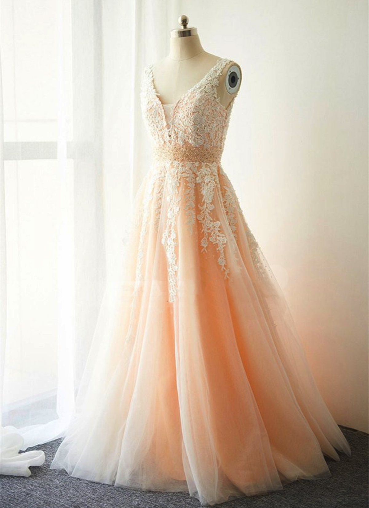 Cute white lace long V neck pearl evening dress, champagne tulle ...