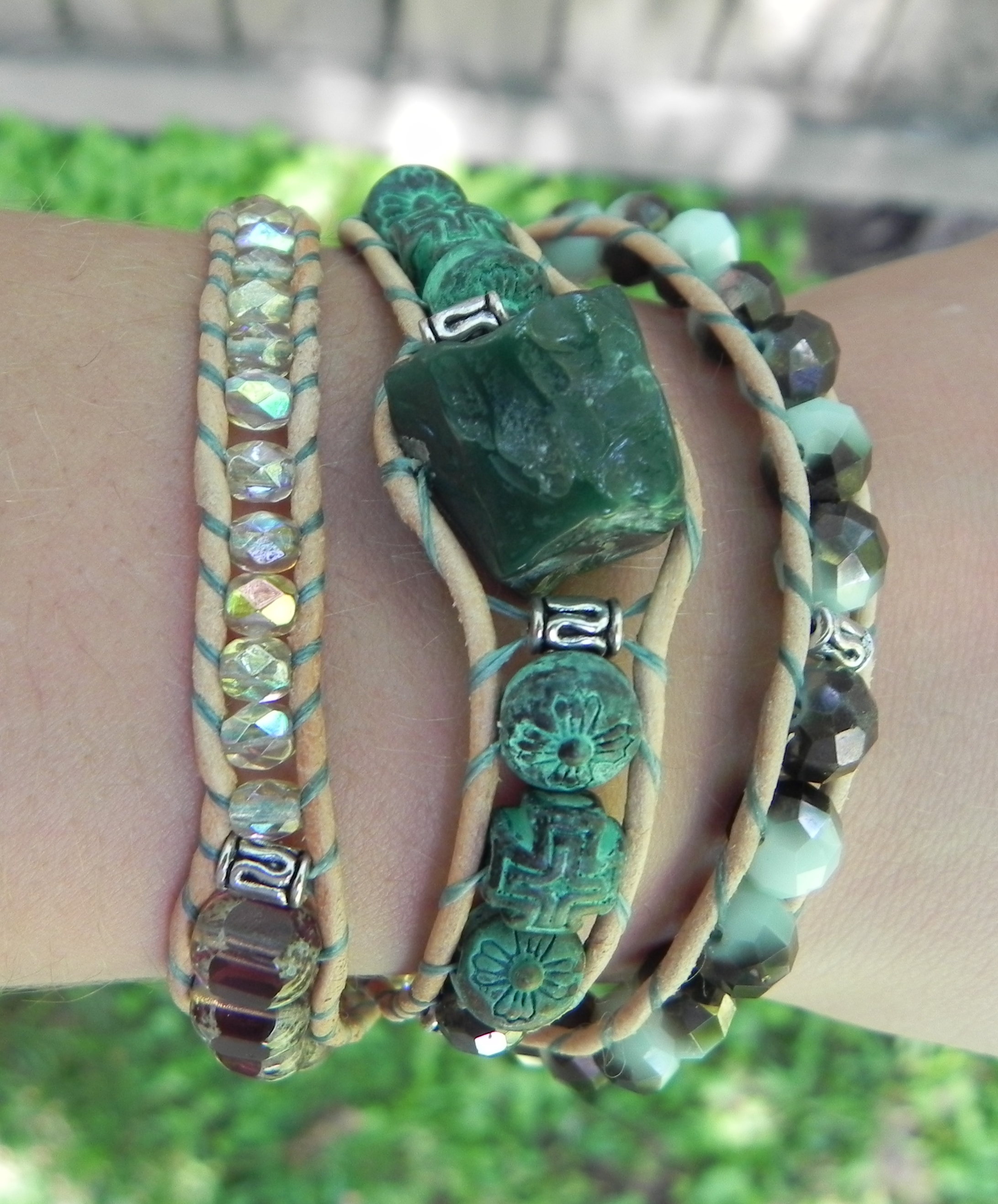 b27c3d130c945 Malachite Leather Wrap Bracelet