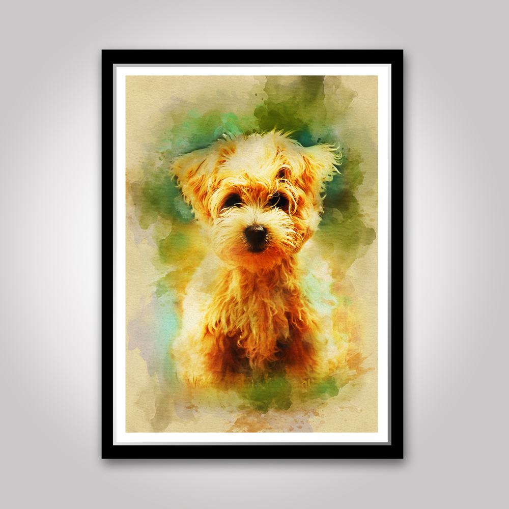 Maltese puppy print, pet dog poster, Watercolor wall art, Rustic ...