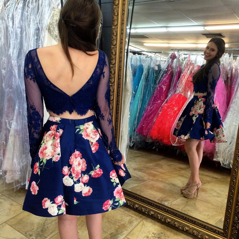 2b4ffd3ee8 Cute Two Piece Bateau Long Sleeves Lace Short Blue Floral Homecoming Dress  - Thumbnail 1 ...