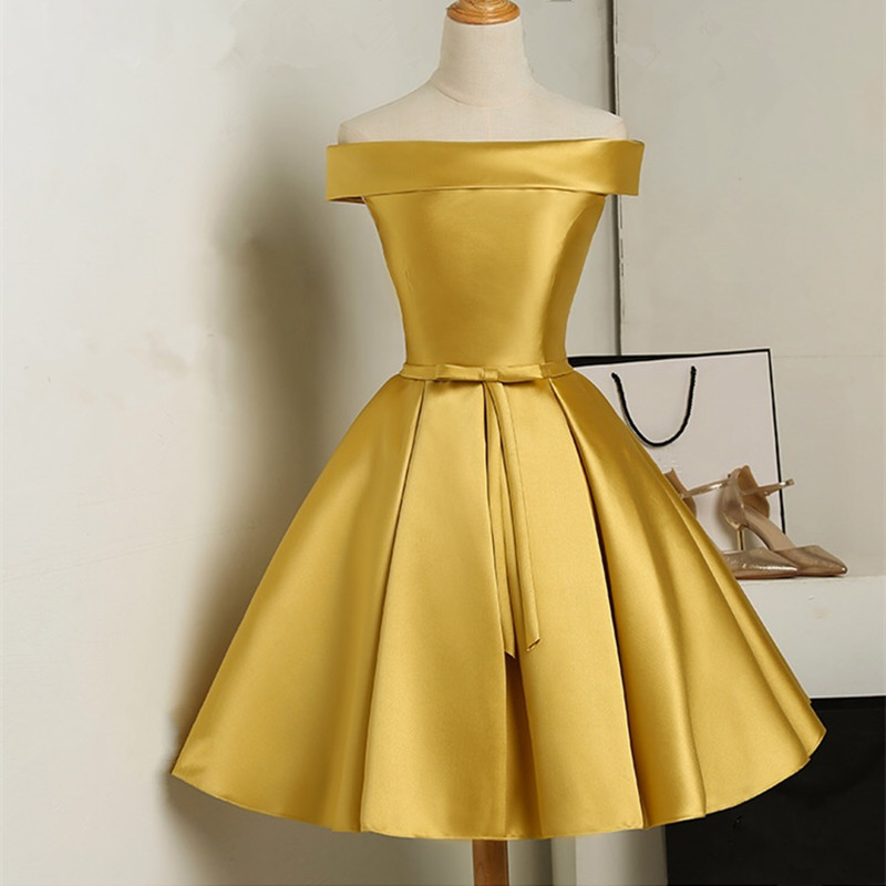 4737fec27b53 Hot Sale Off The Shoulder Homecoming Dress Yellow A Line Wedding ...