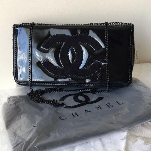 c54eddba87aa NEW Chanel Vip Gift Black Clutch/ Makeup Bag with Chain on Storenvy