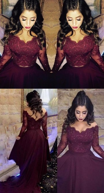 Burgundy Lace Long Sleeve Formal Evening Gowns V Neck Crystal Arabic