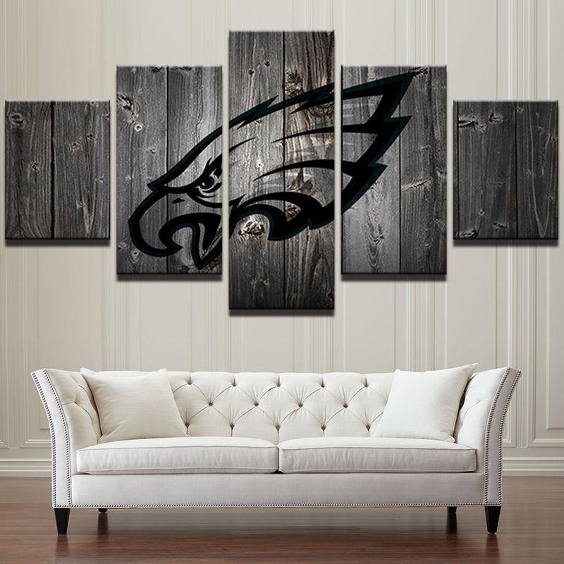 64c17431 Philadelphia Eagles Football Barnwood Style Canvas Five Piece Wall Art