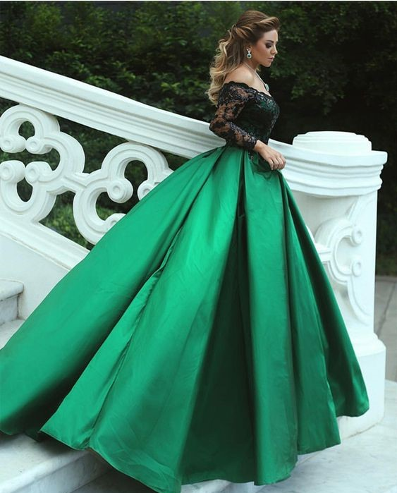 f6ec2f0f1 Black and Green Prom Dress Ball Gown Off Shoulder Bateau Long Sleeve Lace  Appliques Beaded Satin ...