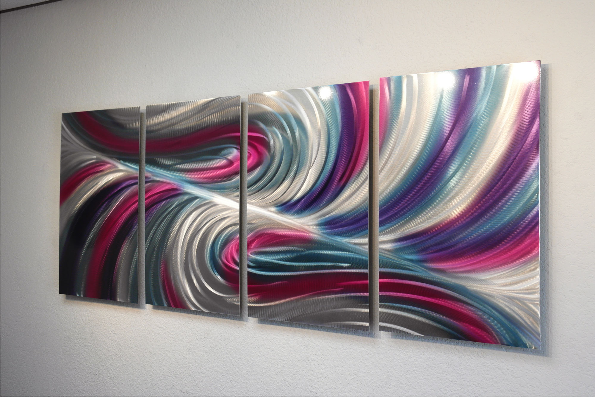 Echo Teal Pink Abstract Metal Wall Art Contemporary