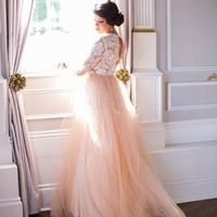 d484586f274 ... Plus Size Pink Summer Beach Wedding Dress Long Sleeve Lace V-Neck Tulle  Modest Country ...
