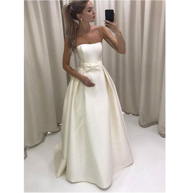 2018 White Satin Wedding Dress Strapless Summer Beach Wedding Dress