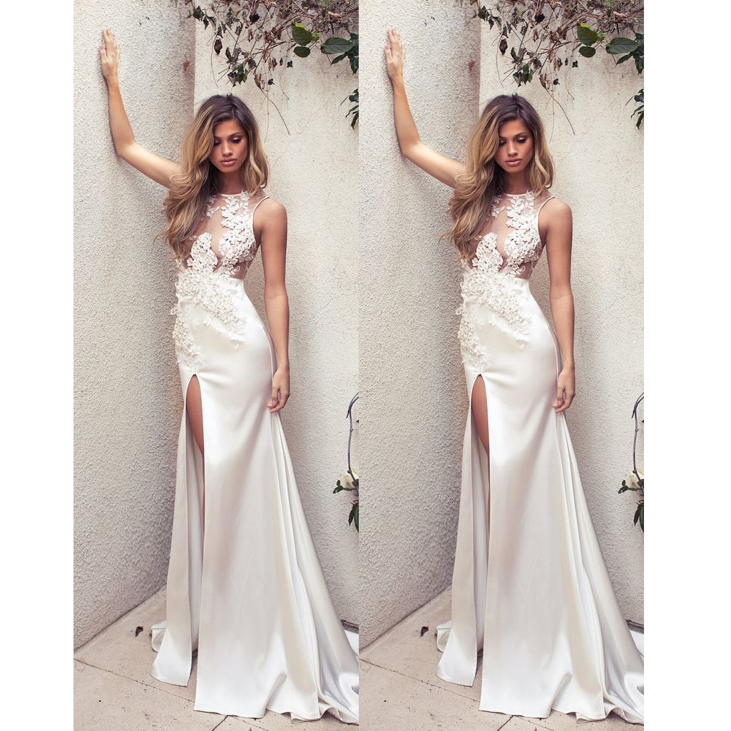 61ff69612f0 2018 Sexy Summer Wedding Dress Lace Appliques Jewel Neck Satin High Slit  Floor Length Bridal Gown