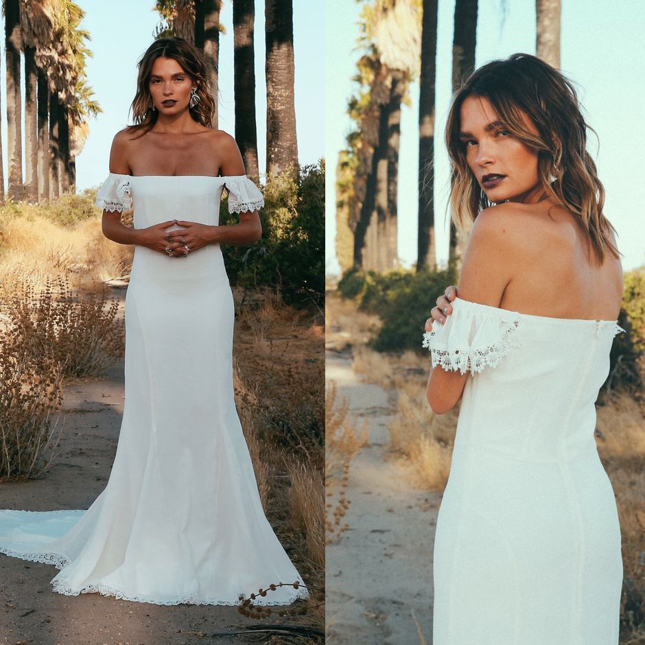2018 Bohemian Modest Country Wedding Dress Off Shoulder Mermaid Summer Beach Bridal Gown Sold By Better4u