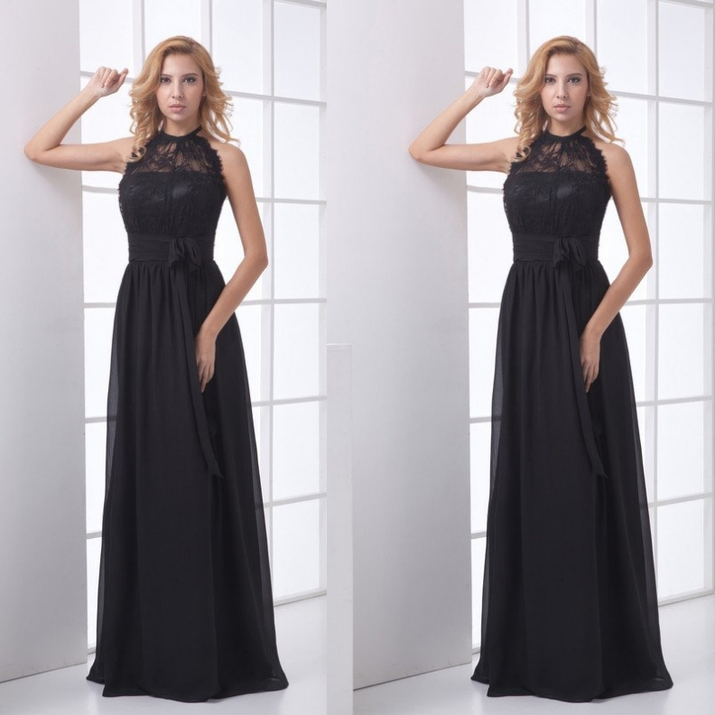 8b4f109c919 Black Formal Chiffon Evening Dress Halter Lace Top Summer Prom Floor Length  Dresses Party Gown