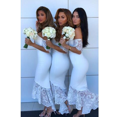ff80988c3d09 2018 White Lace Country Bridesmaids Dresses Mermaid Off The Shoulder  Wedding Guest Dress With Short Sleeves ...