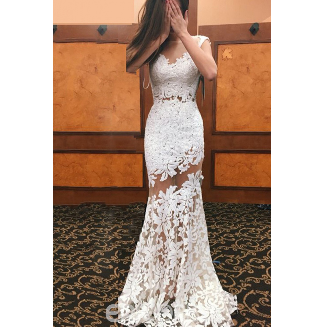 Ivory Lace Wedding Dress Mermaid Jewel Neck See Through Appliques Sheath Summer Bridal Gown From Better4u