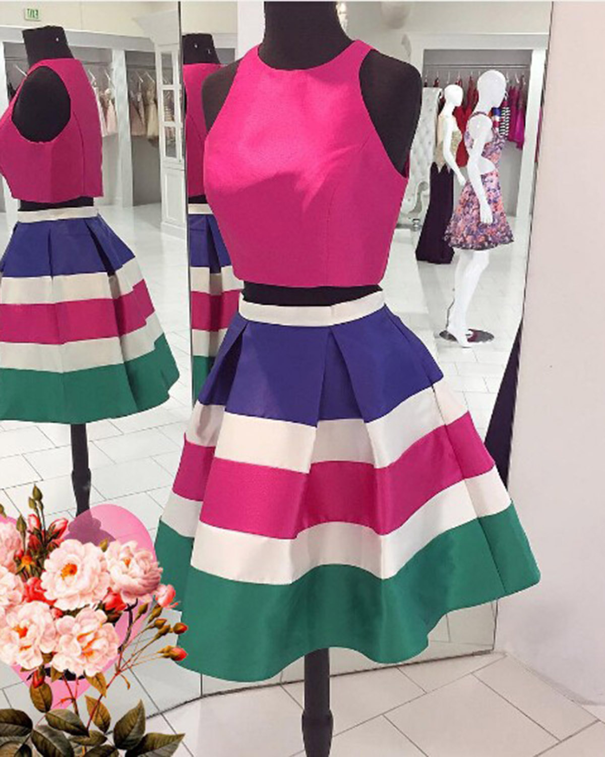 7b401d4cff8 Cute colorful two pieces short homecoming dress