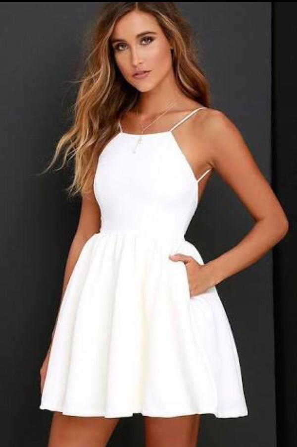 8e73cd1d42ac Chic Freely Ivory Backless Skater Dress · Hot Lady · Online Store ...