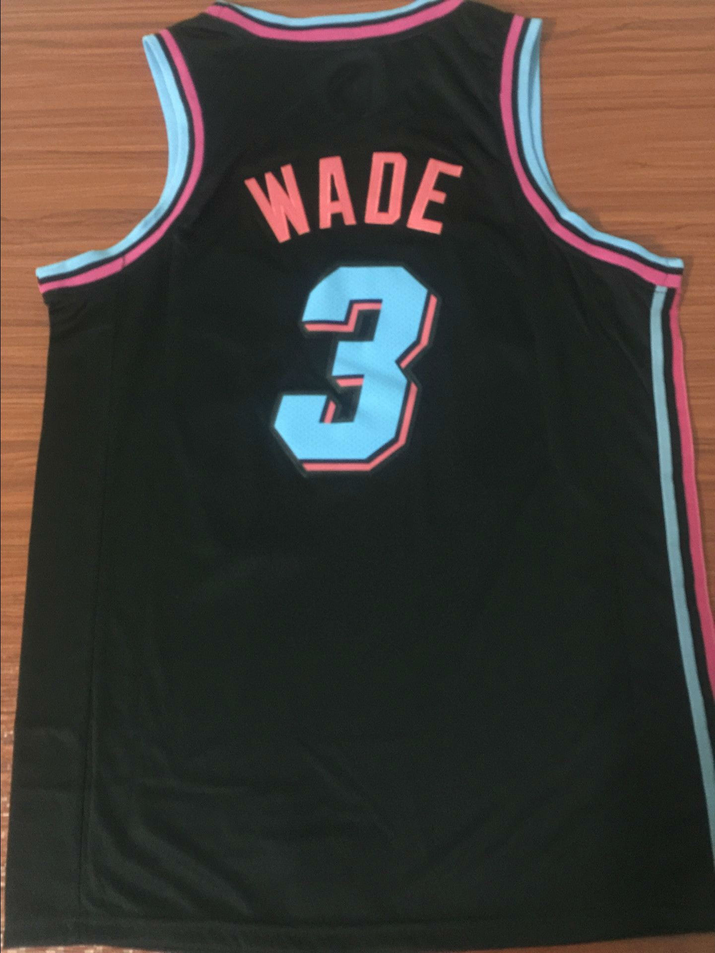 08b92c8e7d5 Men s Miami Heat City Edition 3  Dwyane Wade Black Basketball Jersey -  Thumbnail 1