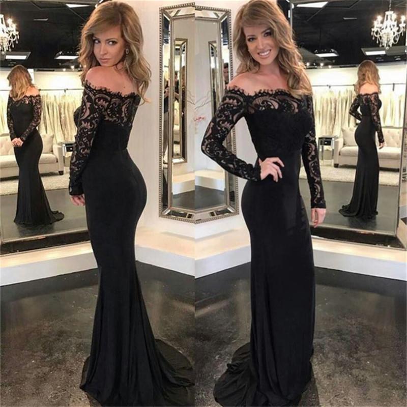 Black Mermaid Prom Dress Elegant Long Lace Long Sleeve Off Shoulder