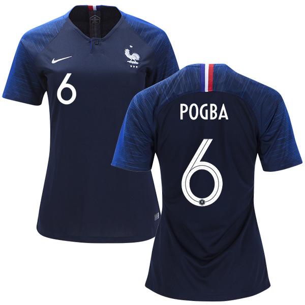 Pogba  6 Women France Home Soccer Jersey 2018 National Team ... 2b0b1031b