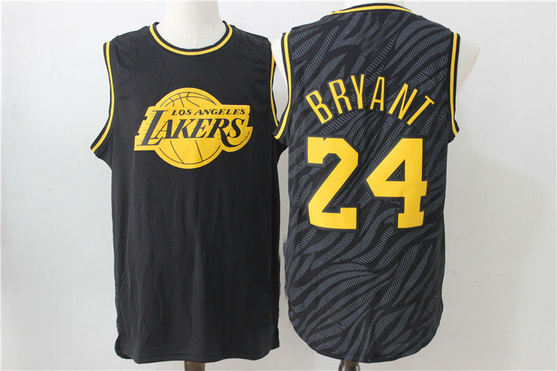 4d0354a82 Los Angeles Lakers Retro  24 Kobe Bryant Black Shadow Basketball Jersey