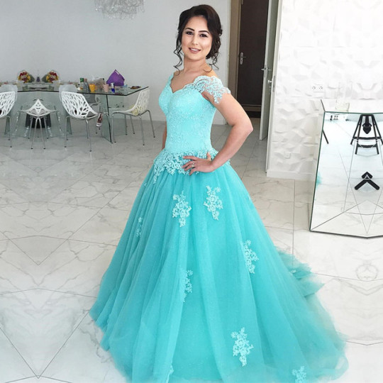 f860c6cc1d77 Light Blue Ball Gown Quinceanera Prom Dresses Off Shoulder Sweetheart Lace  Appliques Tulle Floor Length Formal