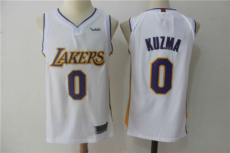 5cf8b027e0f 2017-18 Los Angeles Lakers #0 Kyle Kuzma Basketball Jersey White ...