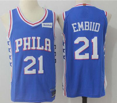best service 9eb76 c6897 2017-18 Philadelphia 76ers #21 Joel Embiid Jersey Blue from teamjerseyinc