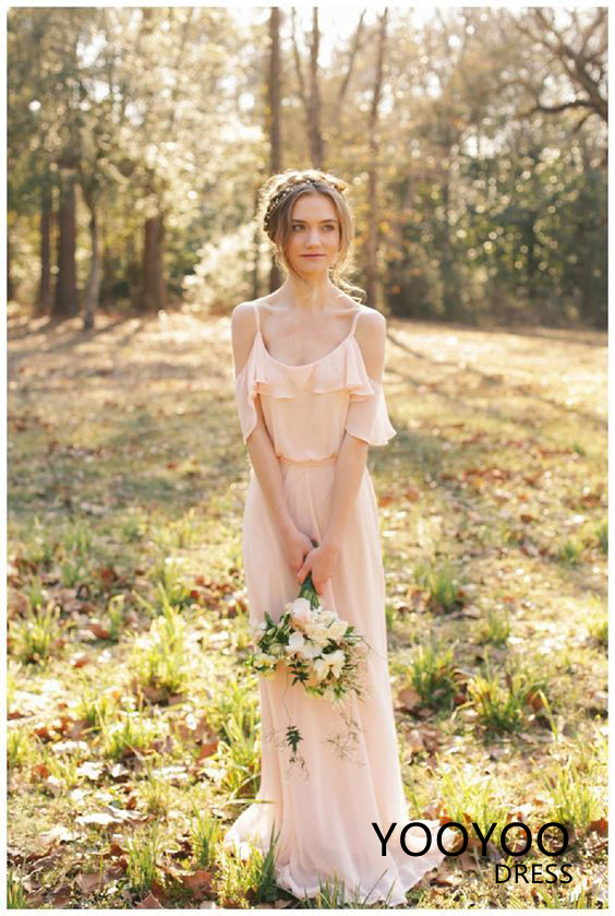 7854975603f5 Summer Country Style Bridesmaid Dress 2018 Spaghetti Straps Off Shoulder  Chiffon Floor Length Bridal Party Dresses ...