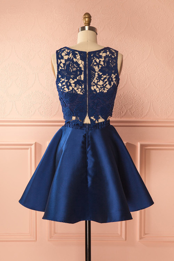 d4ccb4c03ca Cute navy blue lace two pieces short prom dress